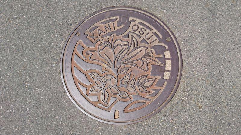 岐阜県可児市のマンホール(サツキ)