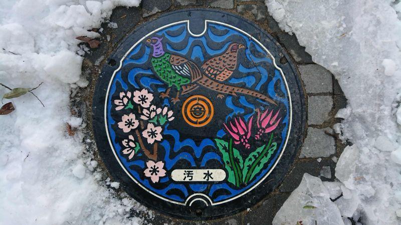 埼玉県大里郡寄居町のマンホール(キジ、カタクリ、ヤマザクラ)[カラー]