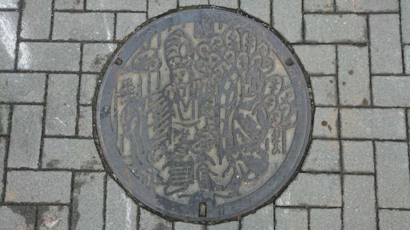 東京都八王子市のマンホール(八王子車人形・演目三番叟)