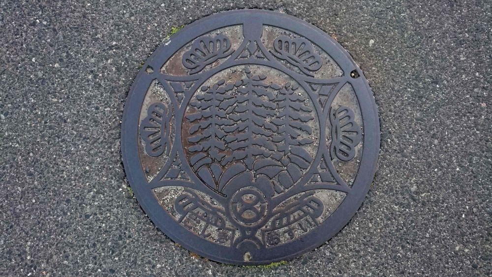 兵庫県洲本市のマンホール(旧五色町、サルビア、マツ)