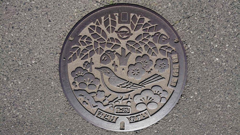 兵庫県南あわじ市のマンホール(旧緑町、ウグイス、ウバメガシ、ウメ)