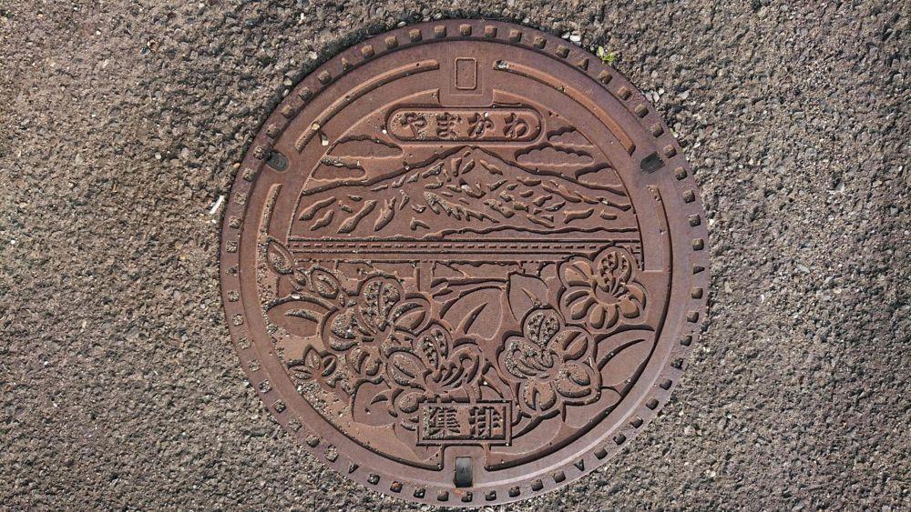 徳島県吉野川市のマンホール(旧山川町、高越山、オンツツジ)