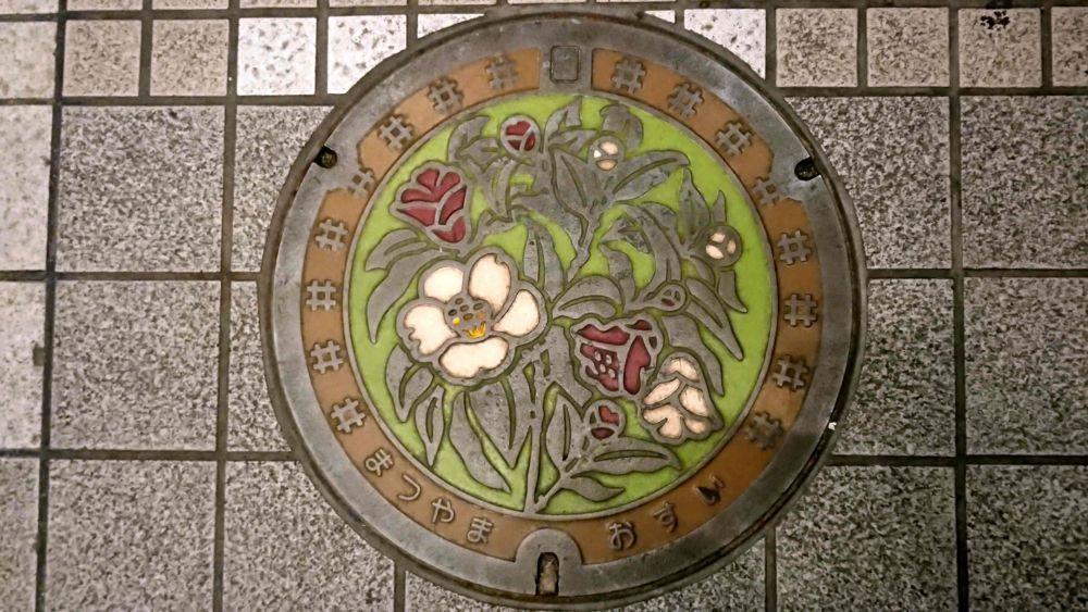 愛媛県松山市のマンホール(ヤブツバキ、伊予かすり)[カラー]