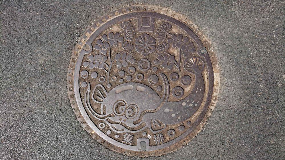 愛媛県西予市のマンホール(旧宇和町、なまず、レンゲソウ)