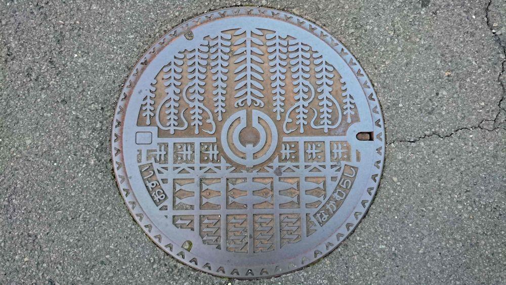 高知県四万十市のマンホール(旧中村市、フジ、鮎)
