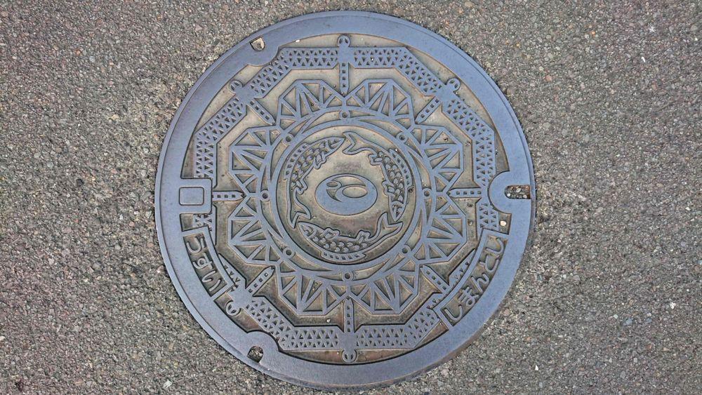 高知県四万十市のマンホール(鮎、四万十川橋の赤鉄橋)