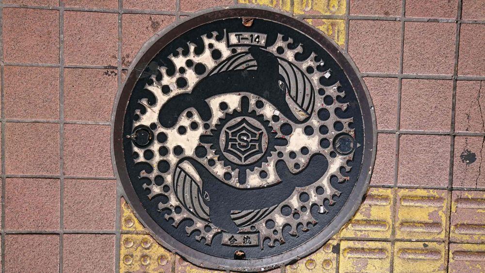 高知県高知市のマンホール(ニタリクジラ)[カラー]