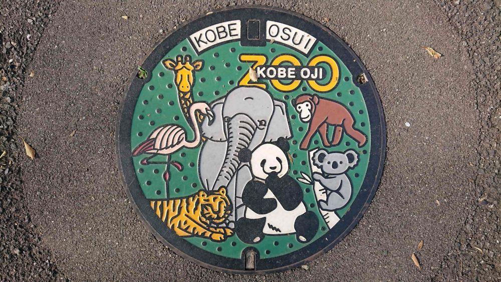 兵庫県神戸市のマンホール(王子動物園)[カラー]