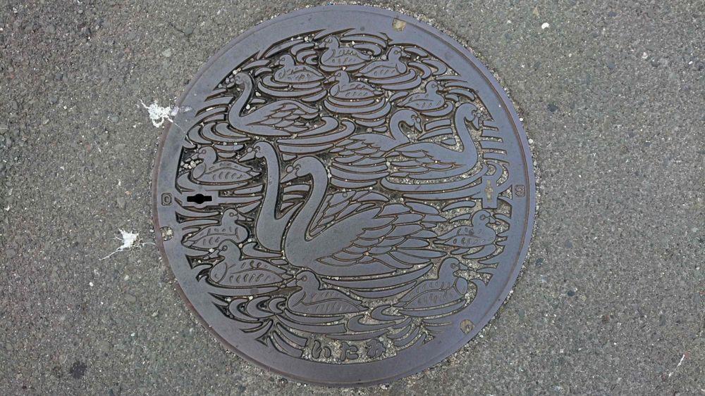 兵庫県伊丹市のマンホール(昆陽池、カモ、白鳥)
