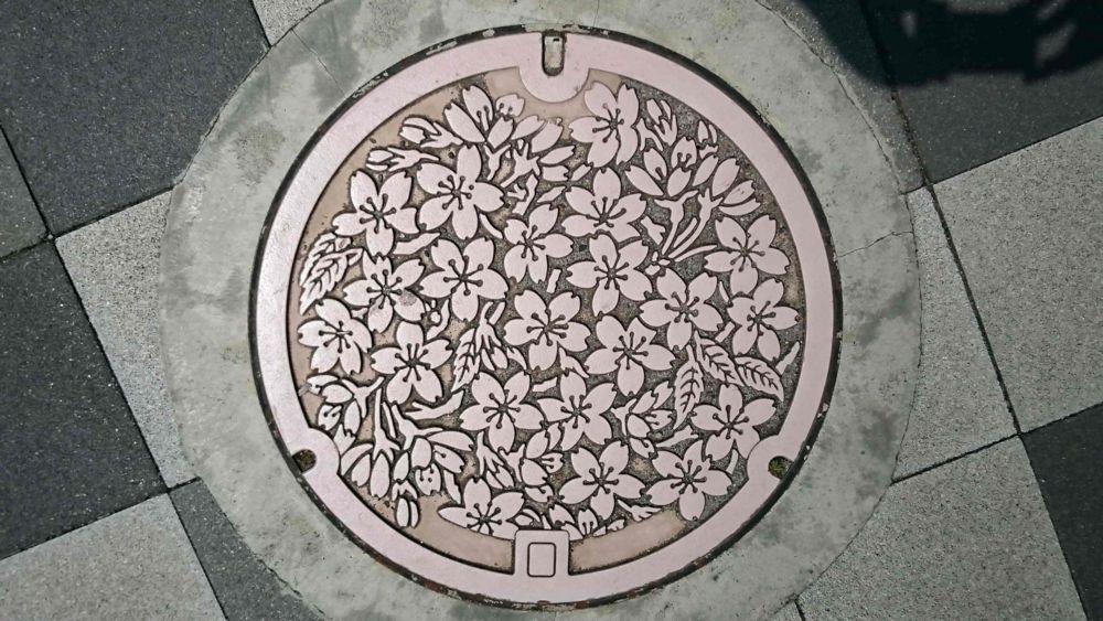 静岡県三島市のマンホール(三島桜)[単色カラー]