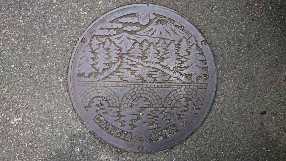 静岡県駿東郡清水町のマンホール(柿田川、旧柿田橋、富士山)