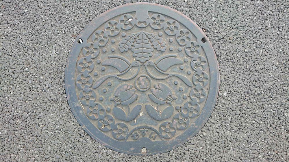 千葉県柏市のマンホール(カシワ、オナガ、カタクリ、シバザクラ)
