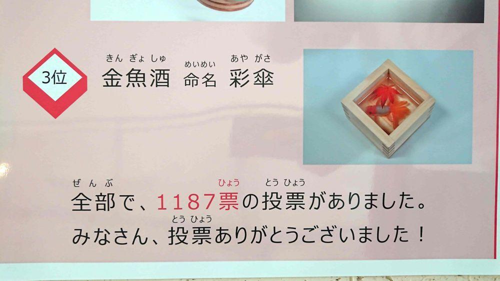 3位は「金魚酒 命名 彩傘」
