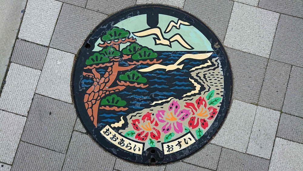 東茨城郡大洗町のマンホール(マツ、ツツジ、カモメ)[カラー]