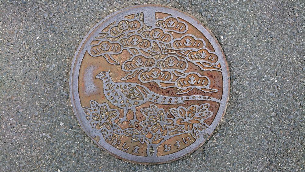 茨城県鹿嶋市のマンホール(キジ、マツ、ヤマツツジ)