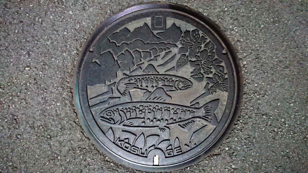 山梨県北都留郡小菅村のマンホール(ヤマメ、ミツバツツジ)