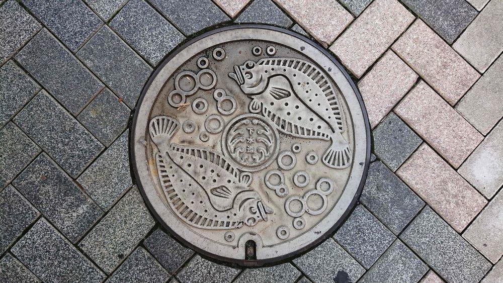静岡県浜松市のマンホール(旧浜松市、ヒラメ、水泡)[白]