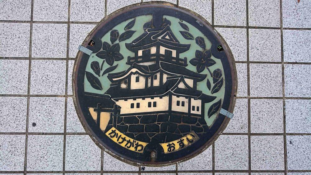 静岡県掛川市のマンホール(掛川城)[カラー、緑]
