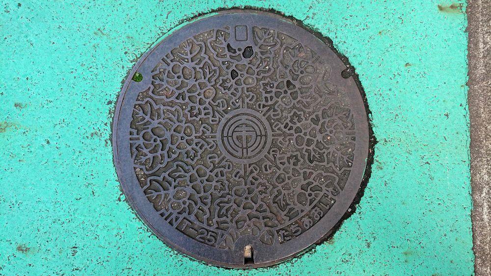 静岡県静岡市のマンホール(旧静岡市、タチアオイ)