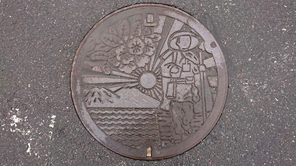 滋賀県蒲生郡日野町のマンホール(日野川、錦向山、しゃくなげ、日野近江商人、日野盆地)