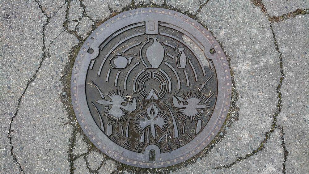 兵庫県篠山市のマンホール(旧今田町、サギソウ、 丹波立杭焼)