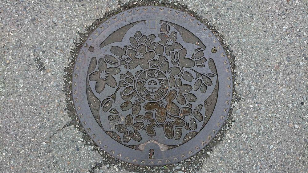 兵庫県篠山市のマンホール(旧丹南町、サクラ)