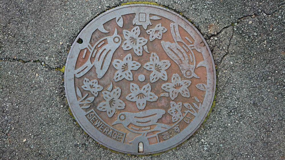 兵庫県加東市のマンホール(旧社町、メジロ、ヒラドツツジ)