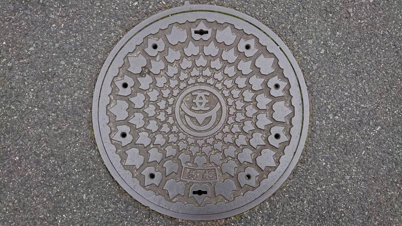 岡山県笠岡市のマンホール(カブトガニの甲羅)