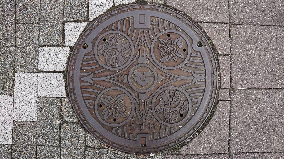 広島県東広島市のマンホール(ペン、鉛筆、マツ、ツツジ)