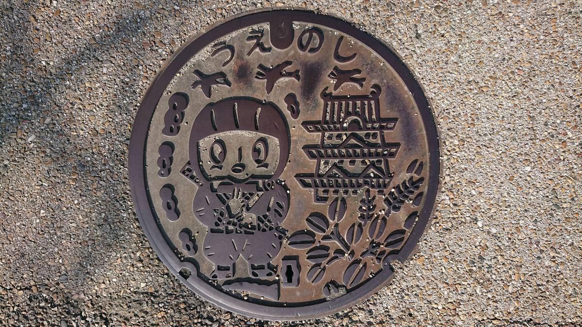 三重県伊賀市のマンホール(旧上野市、伊賀忍者、ハギ、シラサギ)