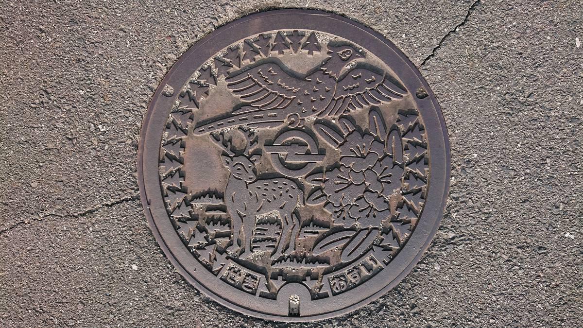 三重県亀山市のマンホール(旧関町、シャクナゲ、キジ、シカ、スギ)