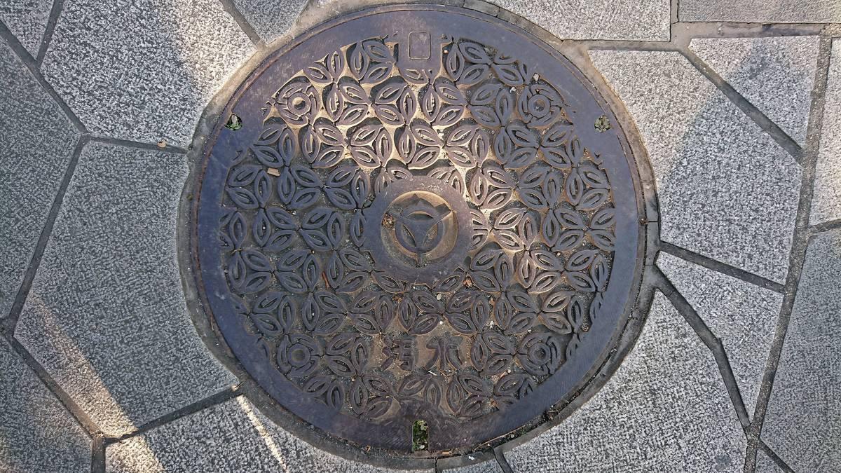 京都府宇治市のマンホール(お茶の葉)