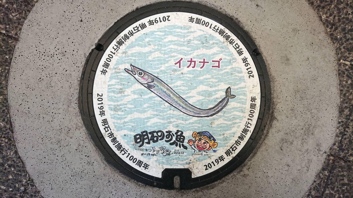 兵庫県明石市のマンホール(市制施行100周年記念、イカナゴ、さかなクン)[カラーシール]
