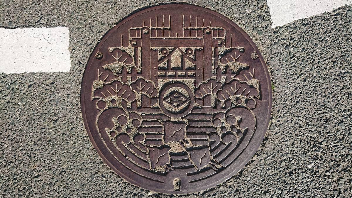 静岡県湖西市のマンホール(旧新居町、新居関所、マツ、チドリ)