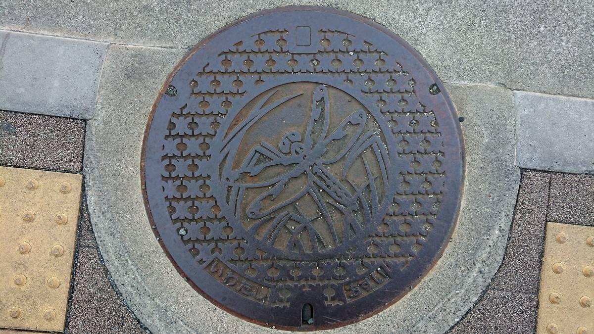 静岡県磐田市のマンホール(ベッコウトンボ)