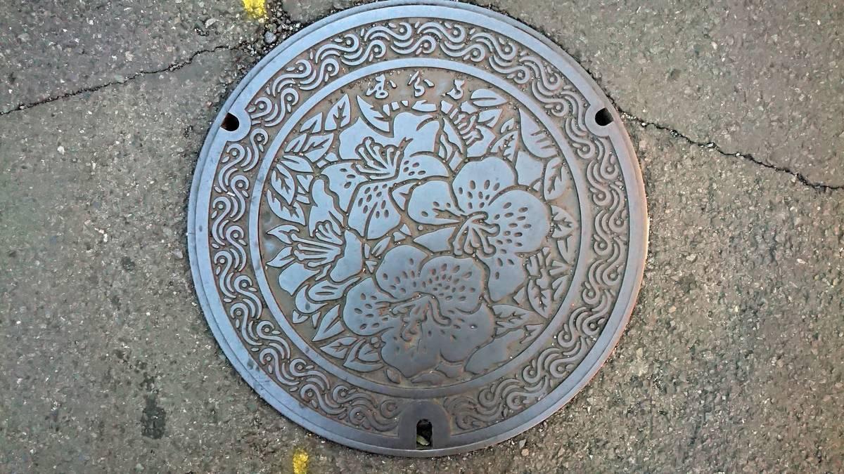 東京都国分寺市のマンホール(サツキ、軒先瓦)