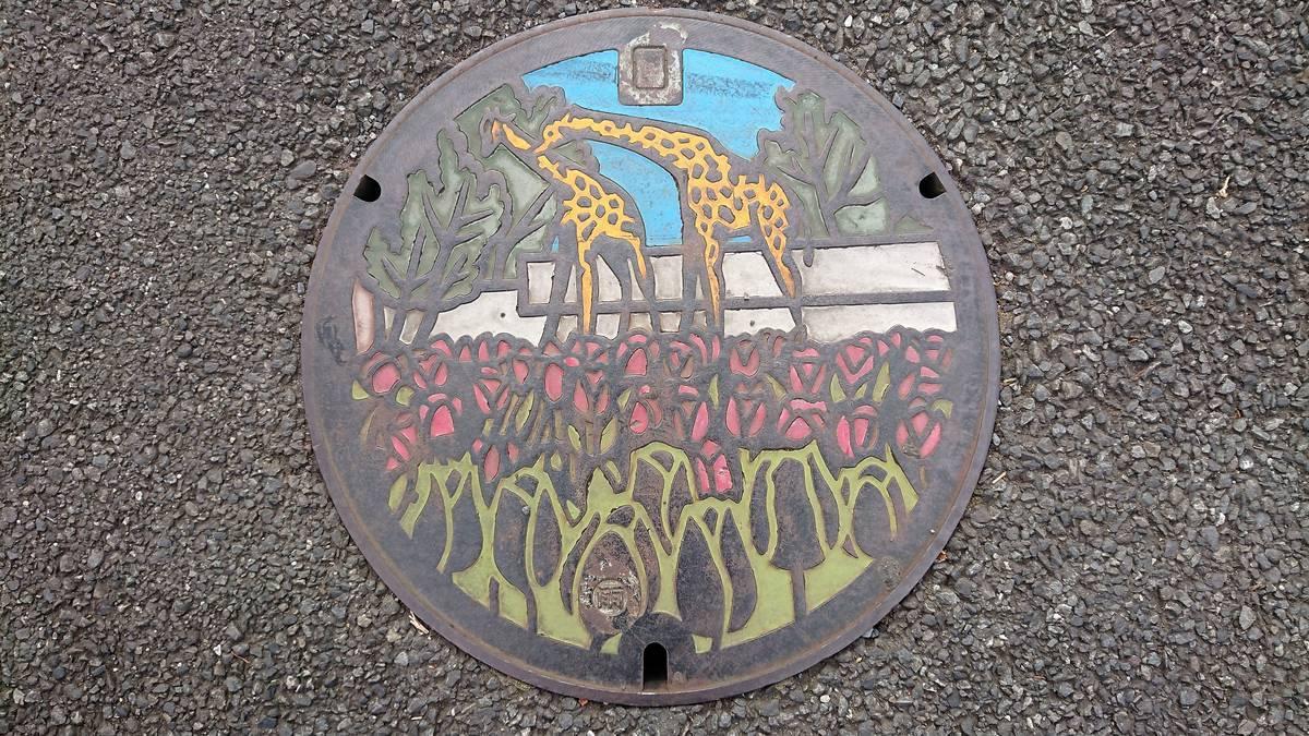東京都羽村市のマンホール(チューリップ、羽村市動物公園)[カラー]