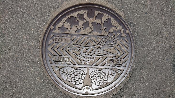 福島県河沼郡湯川村のマンホール(イチョウ、カッコウ、アジサイ)