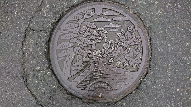 山形県東置賜郡高畠町のマンホール(アカマツ、ツツジ、高畠鉄道の線路跡地)