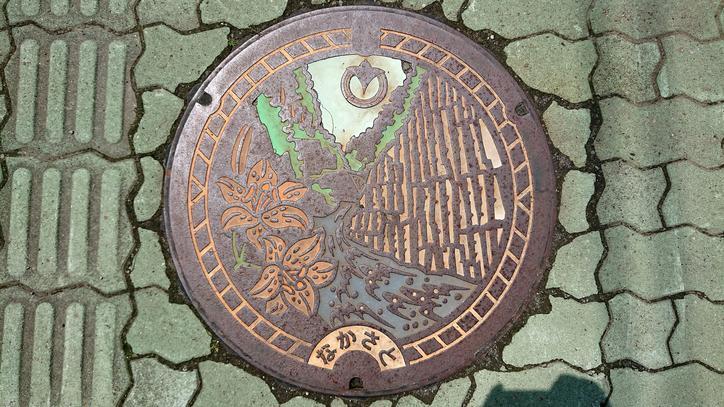 新潟県十日町市のマンホール(旧中里村、清津峡、ユリ)[カラー]