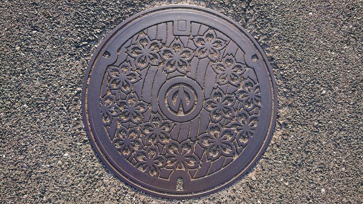 兵庫県朝来市のマンホール(旧和田山町、桜、円山川)