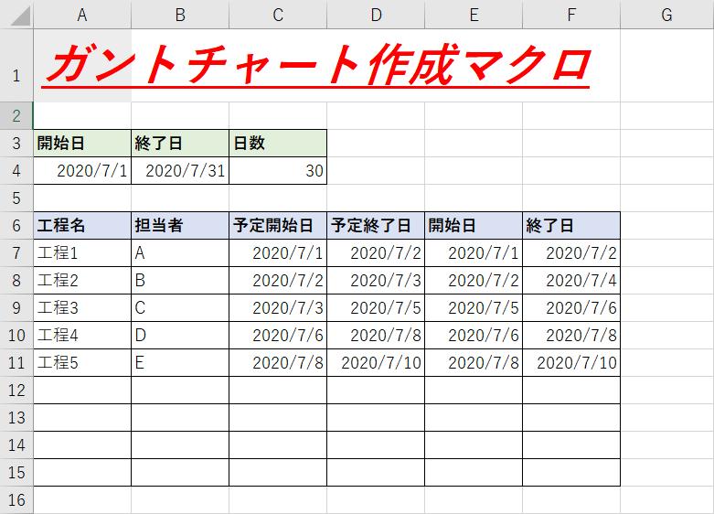 【VBA】ガントチャートを作成するマクロ