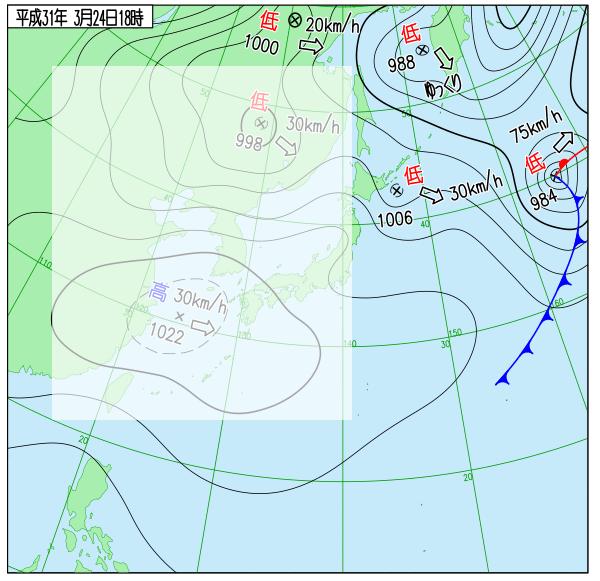 2019年3月24日18時の実況天気図