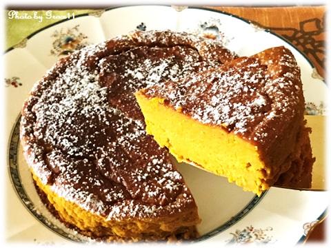 パンプキンケーキ カットした画像
