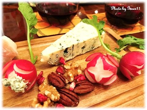 ワインに合うおつまみ ブルーチーズ、ラデッシュ、ナッツ類