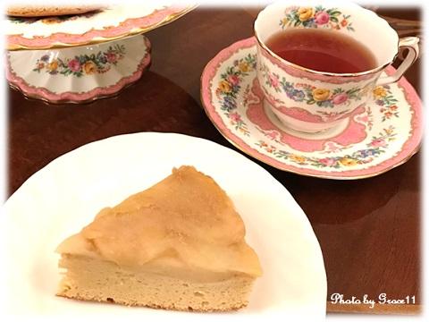アップルカラメルケーキと紅茶
