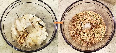 ブリスボールレシピ1:オーツとココナッツフレークを撹拌する。