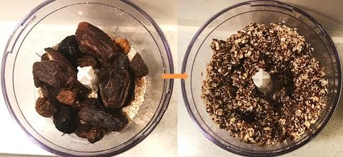 ブリスボールレシピ2:ドライフルーツを加えペースト状にする。