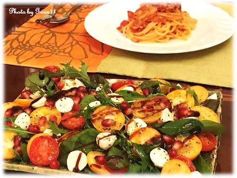 金柑とザクロとモッツアレラチーズのサラダ&パスタでディナー