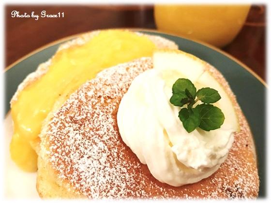 レモンスフレパンケーキ with レモンカード アップ画像